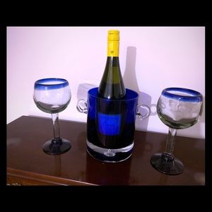 Wine cooler/ice bucket with matching goblets